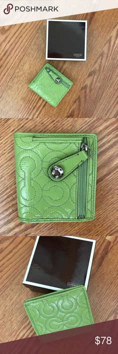 "Coach C Stitched Wallet in Green Coach C Stitched Wallet in Green  Authentic Coach wallet with C stitched pattern throughout. Green in color with silver-tone hardware.   Zip Coin pouch on exterior. Interior has snap closure with ID window, three slip pockets, one billfold pocket & 3 credit card slots.   ❤️COACH BOX INCLUDED ❤️  Measurements: 3.75""L x 3.5""H .75"" D   EUC -gently used, excellent condition  NO TRADES❣️❣️ Coach Bags Wallets"
