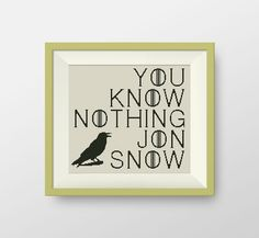 Game of Thrones Cross stitch pattern, Quote cross stitch, PDF counted cross stitch pattern - You Know Nothing Jon Snow, P047 by NataliNeedlework on Etsy