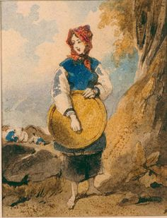 George Chinnery (1772 - 1852) Portrait of Macau Sampan Girl  1825 - 1852
