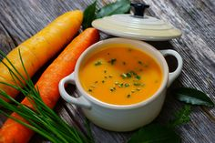 James and Kimberly Van Der Beek's Carrot, Ginger, Turmeric Soup: Make this soup kid-friendly and garnish it with a Greek yogurt smiley face.