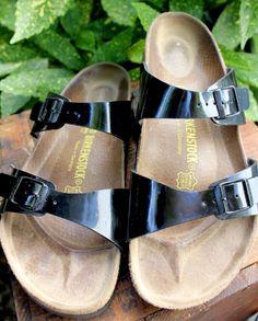 BIRKENSTOCK Black Patent Leather 40 Womens 9 #BIRKENSTOCK #Sandals