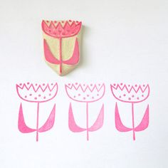 Modern Blossom - a hand carved rubber stamp by Creatiate