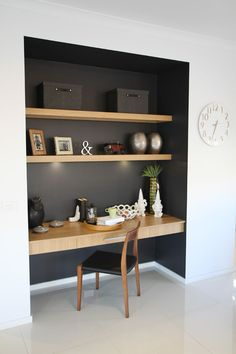 Study nook somewhere in main living zone, like the contrast dark colour and wood… – Modern Home Office Design Closet Desk, Closet Office, Office Nook, Study Office, Small Office, Black Office, Desk Office, Closet Wall, Small Spare Room Office Ideas