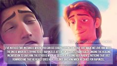 """I've noticed two instances where you can see Eugene crying and that just made me love him more. The one is when he's trying to get Rapunzel's attention as she's frantically singing the Healing Incantation to save him. The other is when he sees her hugging her parents. Noticing that just reminded me that he really does have feelings and how much he cares for Rapunzel."""