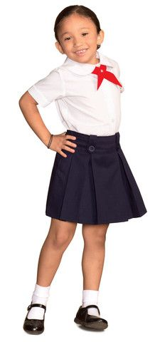 This skort has both knife and box pleats giving it a great look as well as room for movement. and this skort has a adjustable elastic waist for a comfortable fit and room for growth. With two decorative front buttons and polyester shorts, we are sure both parents and children will fall in love with this addition!