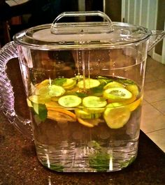 Sassy Water to boost flat belly - 2 liters water (about 8½ cups), 1 teaspoon freshly grated ginger, 1 medium cucumber, peeled and thinly sliced, 1 medium lemon, thinly sliced, 12 small spearmint leaves. Steep overnight in fridge and drink every day.