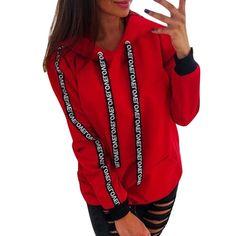 781f92975953 2019 Women Autumn Sweatshirt Women Long Sleeve Solid Hooded Pullover Tops  Blouse Letter Print Hoodies Women