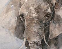 Acuarela pintura original de la acuarela de animales Pintura de la acuarela original de Elefante arte de la pintura CUSTOM 8x10 COMISIÓN