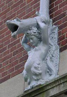 Regenpijp, Rijksmuseum, Amsterdam.  Downspout!