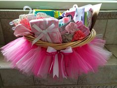 Baby shower tutu gift basket DIY