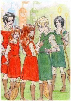 James Sirius, Lily Luna, Rose, Scorpius, and Albus Severus on the Qudditch Pitch coloured