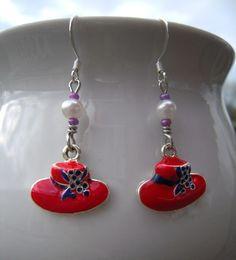 Charming Red Hat Earrings