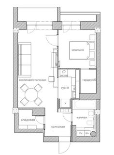 the layout of the apartment is 50 square meters. Small Apartment Plans, Apartment Floor Plans, Apartment Layout, Apartment Design, Small Apartments, 1 Bedroom Apartments, Small House Layout, Small House Plans, House Layouts