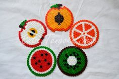 sandylandya@outlook.es  SALE ITEM: 5 handmade fruits coasters with hama beads