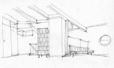 Architekturzentrum Wien - Johannes Spalt: Haus Dr. Draxler, Nussdorf am Attersee, 1987–88: Wohnraum mit Sitzgruppe, Bleistift auf Papier, 31 x 31 cm