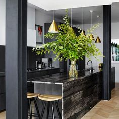 Combining black cabinets with black countertops could feel oppressive, but in this London townhouse designed by Suzy Hoodless, the kitchen feels welcoming and open thanks to warm brass pendant. Decor, Kitchen Design Gallery, Kitchen Design, House Design, Black Kitchens, Kitchen Inspirations, Gorgeous Kitchens, London Kitchen, Townhouse Interior
