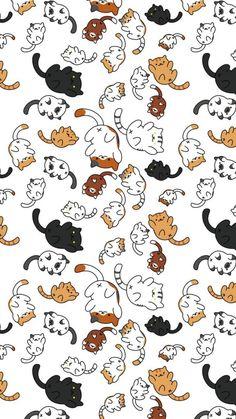 Katzenliebhaber Wallpaper Katzen Haustiere niedlich - - My best shares Wallpaper Gatos, Cat Phone Wallpaper, Cute Cat Wallpaper, Kawaii Wallpaper, Cute Wallpaper Backgrounds, Cute Cartoon Wallpapers, Pretty Wallpapers, Pattern Wallpaper, Screen Wallpaper