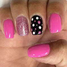 Simple pink black white dots nail art design