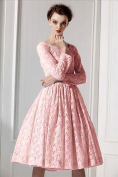 Long- Sleeved A-LIne Skirt Pleated lace Slim Dress TE023 plus1x-10x (SZ16-52)