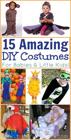 15 different DIY Halloween costumes for babies and little kids.