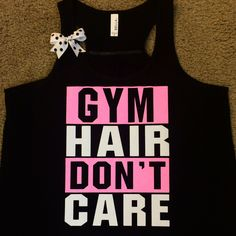 Gym Hair Don't Care - BLACK - Gym Tank - Ruffles with Love - Racerback Tank - Womens Fitness - Workout Clothing - Workout Shirts with Sayings