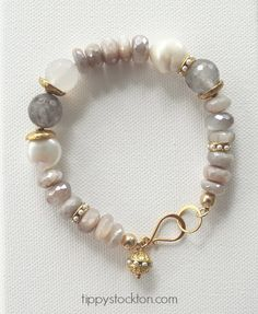 Bracelet - faceted rondelle raw moonstone, highlighted with fresh water pearl nuggets and gray, faceted quartz; secured with a gold hookset, and gold tone findings. Freshwater Pearl Bracelet, Pearl Jewelry, Wire Jewelry, Boho Jewelry, Jewelry Crafts, Beaded Jewelry, Jewelery, Jewelry Bracelets, Jewelry Design