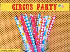 NEW!! Red, Blue, & Yellow Mixed Paper Straws - Circus Party by ModernMandyShop, $4.00 #circus #carnival #party