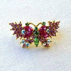 """Gold Plated Crystal Enamel """"Mini Butterfly"""" Pin/ Brooch (1/2"""" x 3/4"""") - Gift Boxed Sea of Diamonds. $25.00"""