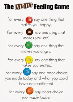 M&Ms Feelings Activity. Great for group counseling or a lesson on feelings. Keep positive! Can substitute Skittles as well (allergy-free) Feelings Games, Feelings Activities, Counseling Activities, Group Counseling, Anger Management Activities For Kids, Coping Skills Activities, Mindfulness Activities, Social Work Activities, Leadership Activities