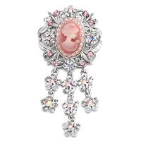 Pugster Elegant Pink Crystal Victorian Image Dangle Flower Tassels Brooches And Pins