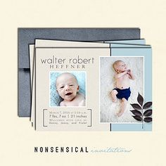 Birth Announcement. Baby boy. Baby girl. 5x7 single sided. Cream, blue, leaf. Photos. Custom design. Nonsensical Invitations.