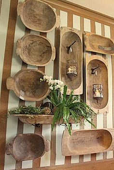 Old Dough Bowls...on the wall.  This looks cool, they make a great centerpiece, or tablescape also.