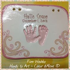 Clay impression created by Kim Washko at Hands to Art in Coeur D'Alene Idaho