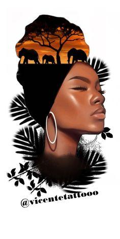 Elephant Tattoo Design, Realism Tattoo, Black Women Art, Tattoo Drawings, Female Art, Black And Grey, Tattoo Designs, Sticker, Portrait