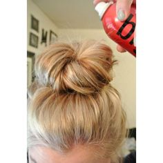 Effortless Messy Bun Tutorial Beauty Undone ❤ liked on Polyvore featuring beauty products, haircare, hair styling tools, hair and hairstyles