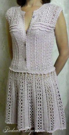 "Photo from album ""Моё вязание"" on Yandex. Crochet Skirts, Crochet Clothes, Knit Crochet, Vanessa Montoro, Crochet Cardigan, Knit Dress, Dress Skirt, Crochet Carpet, V Neck Prom Dresses"