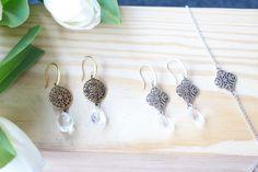 Sommertraum in Chrystal und Silber / Kupfer - Ohrhänger mit Armband