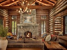 47 Extremely cozy and rustic cabin style living rooms Log Cabin Kits, Log Cabin Homes, Log Cabins, Log Home Living, Living Rooms, How To Build A Log Cabin, Boho Home, Cabins And Cottages, The Ranch