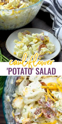 This CAULIFLOWER POTATO SALAD is loaded with freshly shredded cheddar and crispy bacon. This summer side dish is perfect along with anything off the grill! No one will even miss the potatoes! Diabetic Side Dishes, Low Carb Side Dishes, Side Dish Recipes, Keto Recipes, Cooking Recipes, Healthy Recipes, Salad Recipes, Vegetarian Recipes, Dinner Recipes