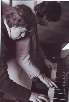 Mick Jagger and Keith Richards at the piano, 1966