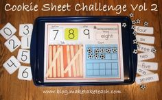 Math center activities using cookie sheets.  Free templates.