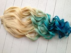"""20"""",  Mermaid Blonde Ombre, Blonde Hair extensions dipped in Pastel Blue faded into Ocean Blue"""