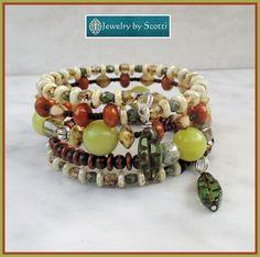 Brown Green Gemstone Glass Bracelet Multistrand by JewelryByScotti