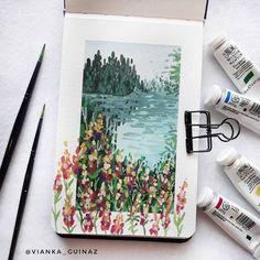 This idea is so cute! Gouache Painting, Painting & Drawing, Pretty Art, Cute Art, Art Sketches, Art Drawings, Aesthetic Art, Art Sketchbook, Oeuvre D'art