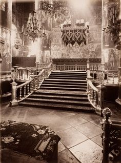 Interior of the Cathedral of the Dormition in the Kremlin, at the time of coronation of Tsar Alexander III of Russia, 1883