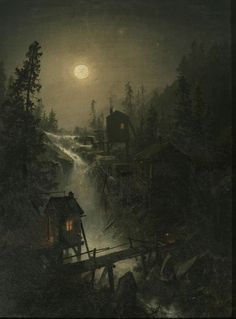A Mining town by moonlight by Herman Herzog (1832 –1932)
