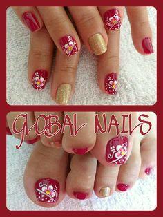 Nail Designs Spring, Mani Pedi, Spring Nails, Toe Nails, Design Art, Nail Art, Pedicures, Red, Nail Arts