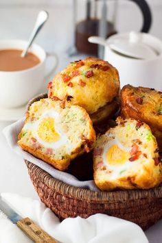 These savory Bacon + Egg Breakfast Muffins look AMAZING. More from my site 18 Egg Breakfast Recipes for A Great Morning Bacon & Egg Breakfast Muffins 9 Low Carb Breakfast Egg Cups Scrambled Egg Muffins Breakfast Easy Egg Breakfast, Grab And Go Breakfast, Breakfast Dishes, Breakfast Time, Breakfast Recipes, Breakfast Ideas, Bacon Breakfast, Breakfast Pictures, Brunch Ideas