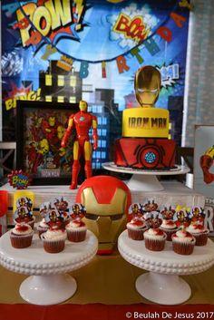 Iron man marvel superheroes birthday party ideas in 2019 Iron Man Theme, Iron Man Party, Manly Party Decorations, Birthday Party Decorations, Birthday Party Snacks, Cake Birthday, 5th Birthday, Birthday Ideas, Ironman Cake
