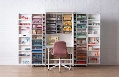 Craft storage ideas for small spaces. In need of many craft storage ideas to finally get your craft room organized? There are lots of posts here to help you so click through! Craft Room Storage, Paper Storage, Room Organization, Storage Spaces, Mobile Craft, Cricut, Large Table, Up House, White Paneling
